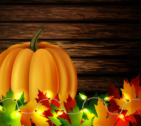 patio: autumn leaves and orange pumpkin with patio lights on wooden texture. Could be used for your Thanksgiving greetings Illustration