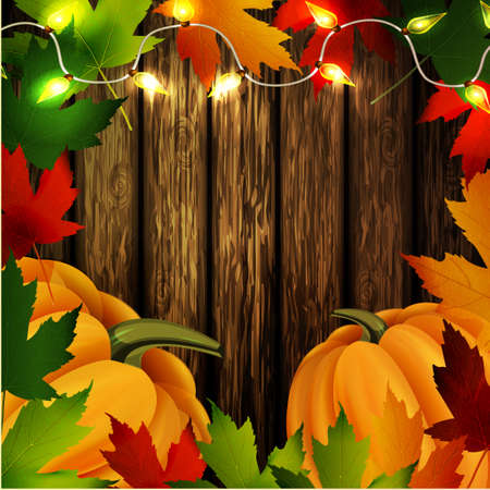 patio: autumn leaves frame cozy patio lights and two orange pumpkins on wooden texture. Could be used for your Thanksgiving greetings Illustration