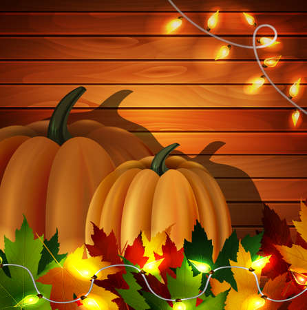 autumn leaves and two orange pumpkins with patio lights on wooden texture. Could be used for your Thanksgiving greetings Иллюстрация