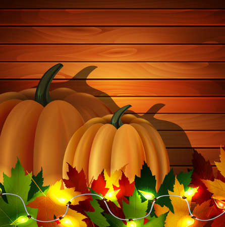 autumn leaves and two orange pumpkins with patio lights on wooden texture. Could be used for your Thanksgiving greetings Illustration
