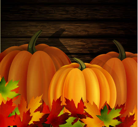 autumn leaves and three orange pumpkins on wooden texture Иллюстрация