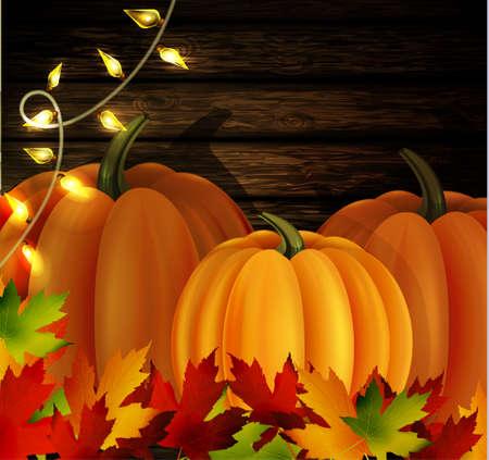patio: autumn leaves cozy patio lights and three orange pumpkins on wooden texture Illustration