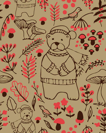 bear berry: Hand drawn seamless vector pattern. Fall themed background with a bear