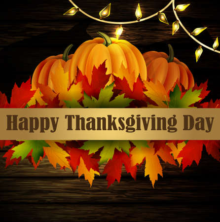 patio: Happy Thanksgiving day background, The vector illustration of pumpkins isolated onwooden texture, maple leafs and cozy patio lights. It is autumn. It is Thanksgiving day
