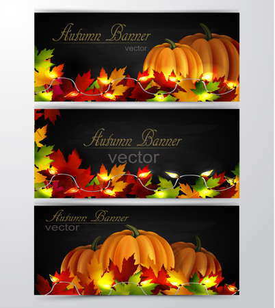 cozy: three autumn banners with leaves cozy patio lights and three orange pumpkins on wooden texture