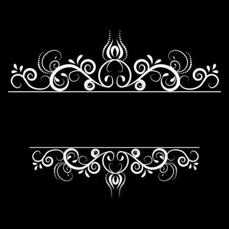 swirl: Vintage vector swirl frame on black background