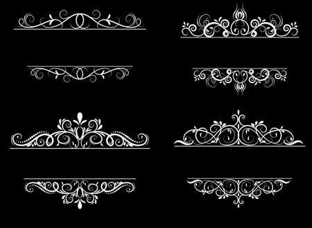 swirl: Vintage vector swirl frame set on black
