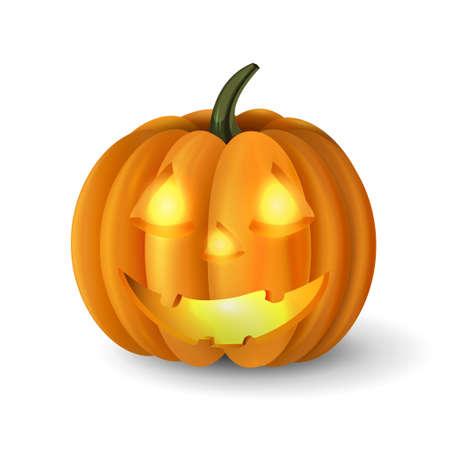 cucurbit: Scary Jack O Lantern halloween pumpkin with candle light inside vector