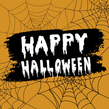 spider webs: Happy Halloween Calligraphy. Halloween banner. Halloween lettering. on orange background with spider webs