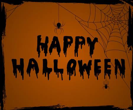 Halloween vector background greeting card on orange