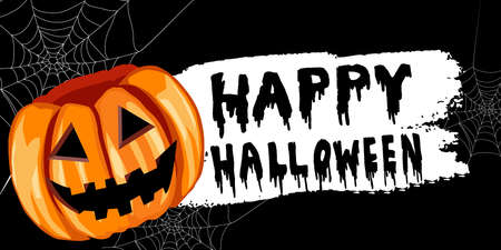 Halloween pumpkin label sticker with white bloody letters on black with spider webs could be used like a banner