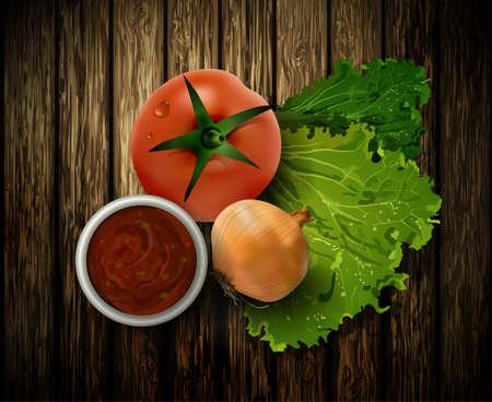 ensalada tomate: Ilustración vectorial de fresca ensalada de tomate y cebolla en el fondo de madera