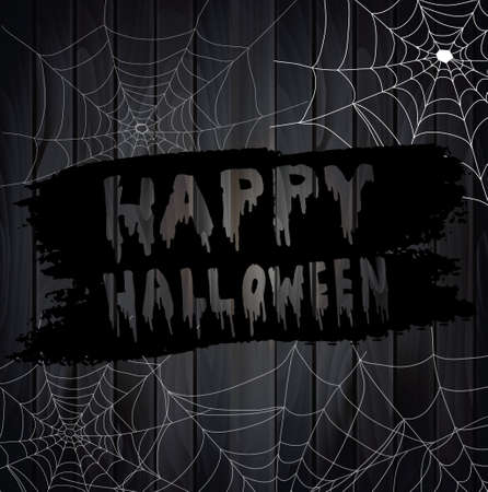 spider webs: Vector Illustration of Scary Spider Webs on wooden background Illustration