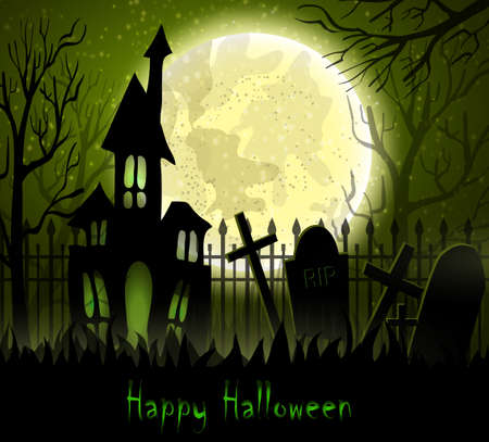 sky brunch: Graveyard cemetery tomb in forest with moon and haunted house , Halloween background, vector illustration