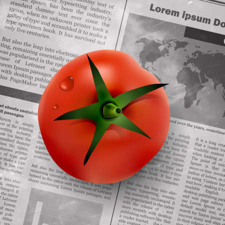 global communication: red tomato on old vintage newspaper background