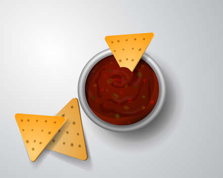 chips and salsa: vector illustration of Salsa with tortilla chips isolated on white background Illustration