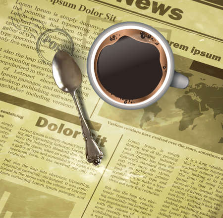 Cup of coffee teaspoon on old newspaper background Illusztráció