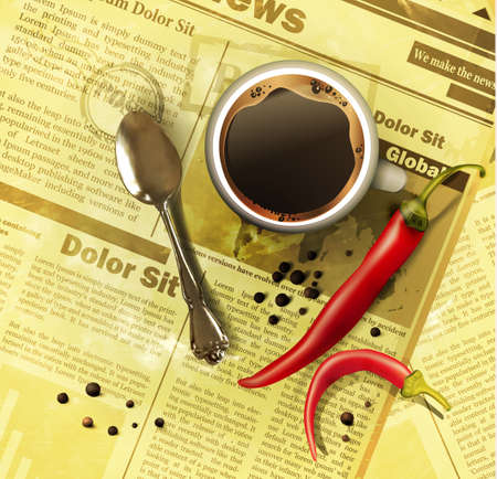old newspaper: Cup of coffee teaspoon with vegetables on old newspaper background