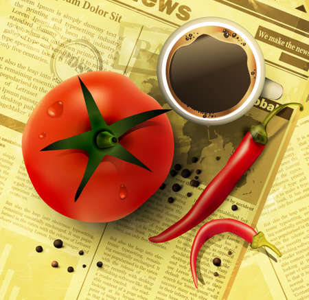Cup of coffee with vegetables on old newspaper background