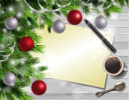 Kerstmis Nieuwjaar ontwerp lichte houten achtergrond met kerstboom en zilveren en rode ballen en zoeklijst koffie theelepel en pen