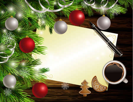 Christmas New Year design dark rustic wooden background with christmas tree and silver and red balls and wish list coffee cookies and pen