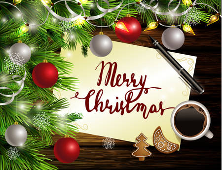 Christmas New Year design dark rustic wooden background with christmas tree and silver and red balls and handwritten words coffee cookies and pen