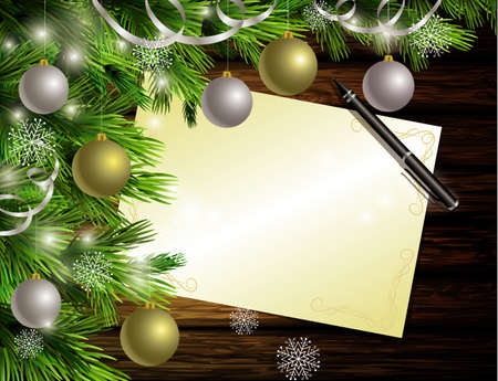 christmas list: Christmas New Year designdark rustic wooden background with christmas tree and golden and red balls and wish list and pen Illustration