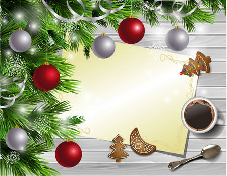 christmas list: Christmas New Year design light rustic wooden background with christmas tree and silver and red balls and wish list coffee cookies