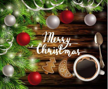 Kerstmis Nieuwjaar ontwerp donkere rustieke houten achtergrond met koffie theelepel kerstboom en zilveren en rode ballen