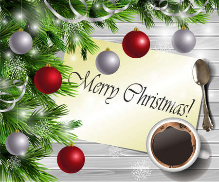 Christmas New Year design light wooden background with christmas tree and silver and red balls and Merry Christmas greeting card coffee and teaspoon