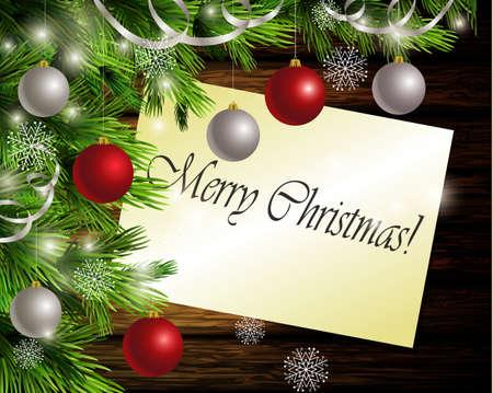Kerstmis Nieuwjaar ontwerp donkere houten achtergrond met kerstboom en zilveren en rode ballen en Merry Christmas wenskaart koffie en theelepeltje Stock Illustratie