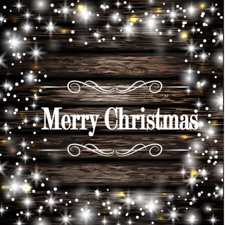 Christmas frame on dark wooden background with snow and lights