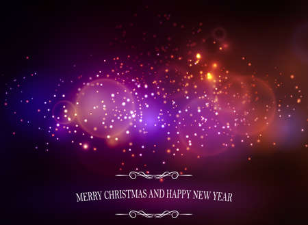 Abstract background with sparks lights and Merry Christmas and happy new year Illustration