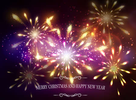 Abstract background with sparks lights and Merry Christmas and happy new year and Fireworks