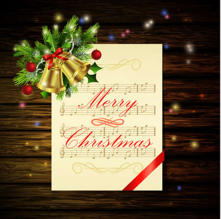 christmas gift box: Christmas background with paper ribbon gold bells and lights on a dark wood wall and decorations