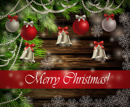 silver bells: Christmas New Year design dark rustic wooden background with christmas tree silver bells decorations and red silver balls