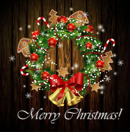 クリスマス リースと弓とジンジャーブレッドと素朴な木の背景で隔離の鐘