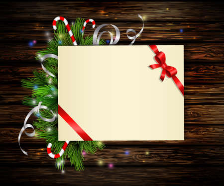 Christmas background with paper ribbon and lights on a wooden wall with free space Illustration