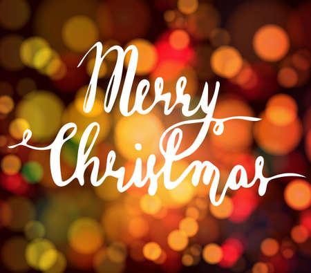 Magische achtergrond met bokeh 's nachts voor de vakantie met de hand geschreven Vrolijk kerstfeest Stock Illustratie
