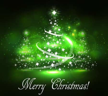 Vector abstract dark bokeh fuzzy background with thee Christmas trees Illustration