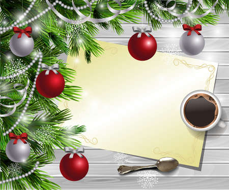Christmas New Year design light wooden background with christmas tree and silver and red balls and wish list with a cup of coffee and teaspoon Illustration
