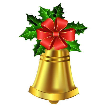 Christmas golden bell holly sprig and bow isolated on white
