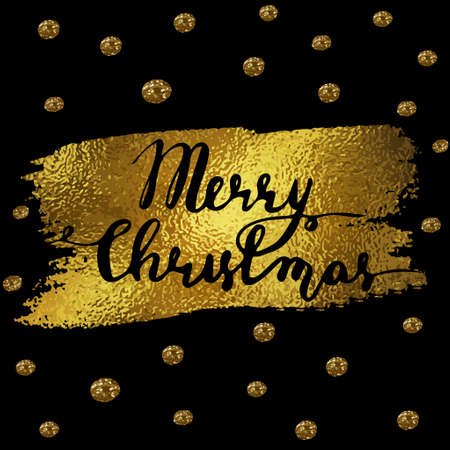 Polka Dotted Holidays - Simple Christmas and New Year greeting card with irregular, uneven hand drawn dots, gold foil on black