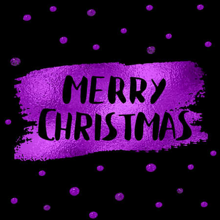 Polka Dotted Holidays - Simple Christmas and New Year greeting card with irregular, uneven hand drawn dots, purple on black