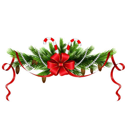 Christmas decoration with evergreen treess and with candy canes and bow isolated
