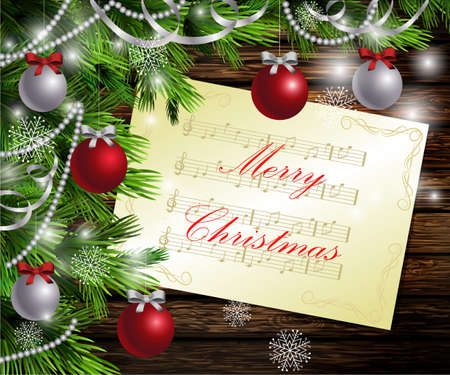 Christmas New Year design dark wooden background with christmas tree and silver and red balls and music Illustration