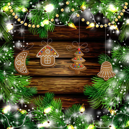 Christmas New Year design wooden background with christmas garland gingerbread cookies lights and snow. Vector illustration, Cristmas tree