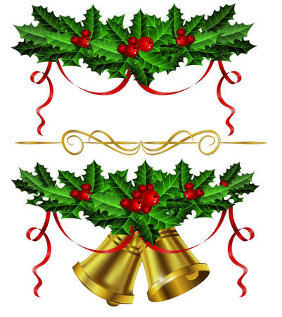 Set of golden Christmas bells with red berries and hollyand ribbonon white background, illustration.