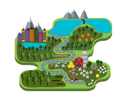 Natural food. Farm and city. Vector illustration infographic