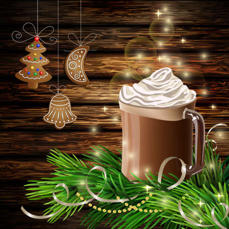 Christmas New Year design dark wooden background with hot chocolate and christmas tree and hanging gingerbread coockies Illustration